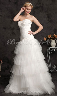 A-line Tulle Floor-length Sweetheart Wedding Dress