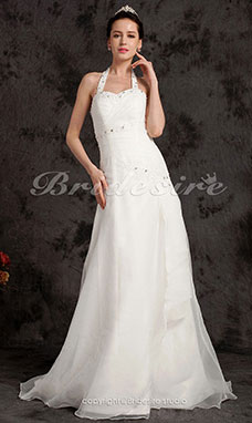 A-line Taffeta Court Train Halter Wedding Dress