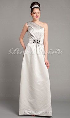A-line Floor-length Satin One Shoulder Bridesmaid Dress