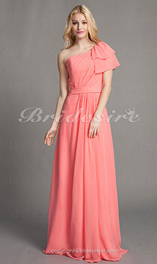Sheath/Column Chiffon Floor-length One shoulder Bridesmaid Dress