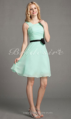 A-line Chiffon Knee-length Off-the-shoulder Bridesmaid Dress