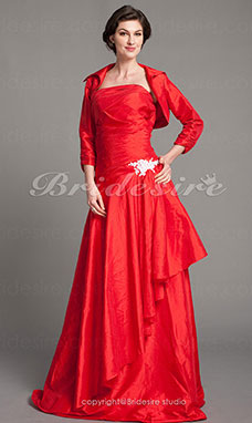A-line Taffeta Floor-length Strapless Mother of the Bride Dress With A Wraps
