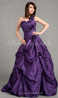 Ball Gown Taffeta Floor-length One Shoulder Evening Dress