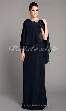 Sheath/ Column Chiffon Floor-length Scoop Evening Dress