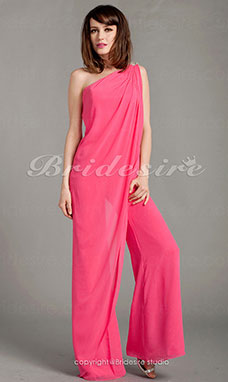 Chiffon Floor-length One Shoulder Pantsuit