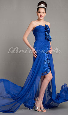 Sheath/ Column Chiffon Asymmetrical Sweetheart Evening Dress