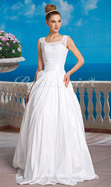 Ball Gown Taffeta Lace Floor-length Scoop Wedding Dress