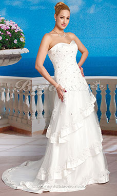 Ball Gown Tulle Satin Chapel Train Sweetheart Wedding Dress