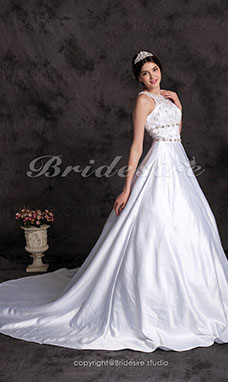 Ball Gown Chapel Train Satin Jewel Wedding Dress