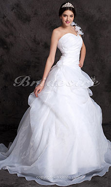 Ball Gown Organza One Shoulder Floor-length Wedding Dress
