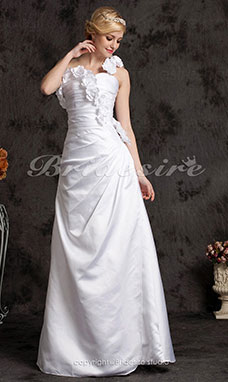 A-line Elastic Woven Satin Sweep/ Brush Train One Shoulder Wedding Dress