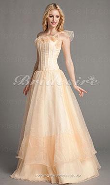 A-line Organza Floor-length One Shoulder Wedding Dress