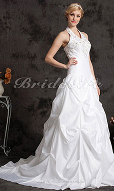 Ball Gown Halter Taffeta Chapel Train Plus Size Wedding Dress