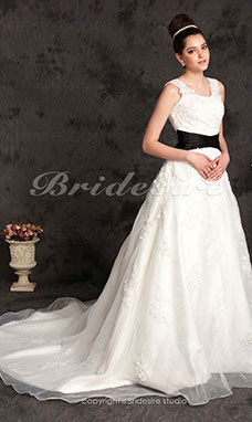 Ball Gown Organza Scoop Chapel Train Plus Size Wedding Dress