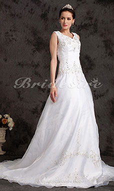 A-line Organza Chapel Train V-neck Plus Size Wedding Dress