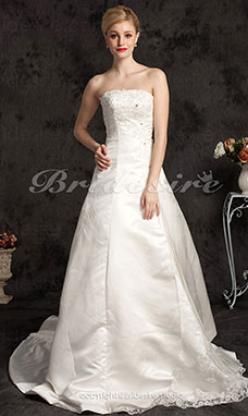 A-line Satin Chapel Train Strapless Plus Size Wedding Dress