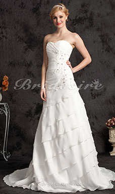 A-line Chiffon Plus Size Chapel Train Sweetheart Wedding Dres