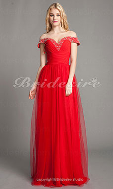 A-line Tulle And Chiffon Floor-length Off-the-shoulder Evening Dress