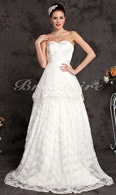 A-line Lace Court Train Sweetheart Wedding Dress