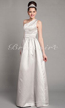 A-line Satin Floor-length One Shoulder Bridesmaid Dresss