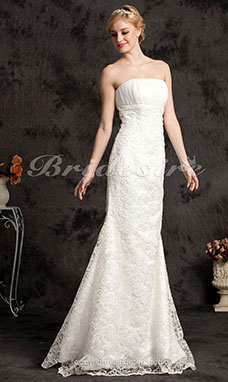 A-line Lace Organza Court Train Sweetheart Wedding Dress