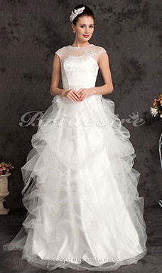 A-line Lace Tulle Jewel Floor-lengthWedding Dress
