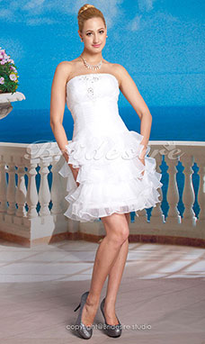 A-line Organza Taffeta Short/ Mini Strapless Wedding Dress