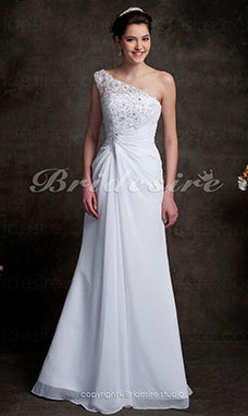 Sheath/Column One Shoulder chiffon Sweep/ Brush Train Wedding Dress
