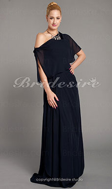 Sheath/Column Chiffon Floor-length Strapless Mother Of The Bride Dress With A Wrap