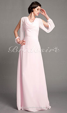 Sheath/Column Chiffon Floor-length Cowl Mother of the Bride Dress