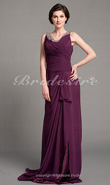 Sheath/Column Chiffon Floor-length V-neck Mother of the Bride Dress With A Wrap