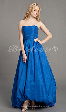 A-line Taffeta Asymmetrical Strapless Bridesmaid Dress With Bow