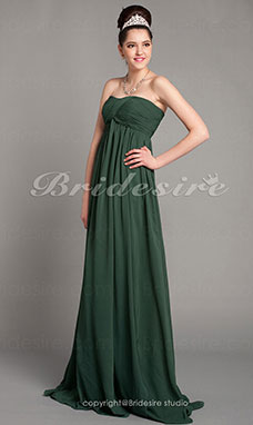 A-line Chiffon Sweep/ Brush Train Strapless Evening Dress