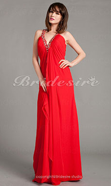 A-line Chiffon Floor-length V-neck Evening Dress
