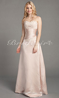 A-line Satin And Lace Floor-length Strapless Wedding Dress