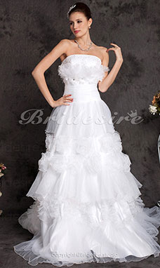 A-line Organza Court Train Strapless Wedding Dress