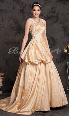 A-line Straps Taffeta Sweep/Brush Wedding Dress