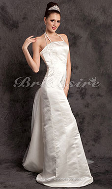 Sheath/Column Satin And Tulle Neck Floor-length Halter Wedding Dress
