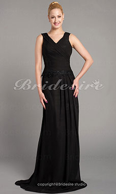Sheath/Column Chiffon Floor-length V-neck Mother of the Bride Dress