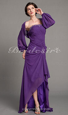 Sheath/Column Chiffon Asymmetrical Strapless Mother of the Bride Dress With A Wrap