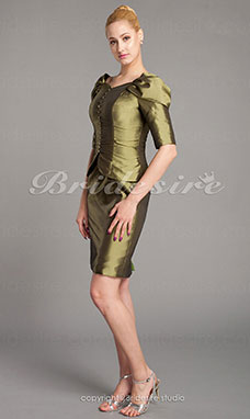 Sheath/Column Taffeta Knee-length V-neck Mother Of The Bride Dress