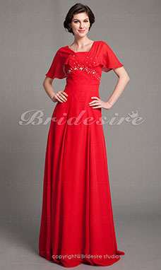 Sheath/Column Chiffon Floor-length Square Mother of the Bride Dress