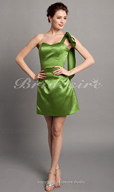 Sheath/ Column Satin Short/ Mini Sweetheart Bridesmaid Dress