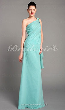 Sheath/ Column Chiffon Floor-length One Shoulder Evening Dress