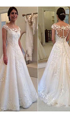 A-line Scoop Short Sleeve Lace Wedding Dress