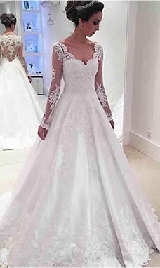 A-line Scalloped-Edge Long Sleeve Satin Wedding Dress