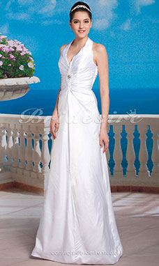 Sheath/ Column Elastic Silk-like Satin Floor-length Halter Wedding Dress