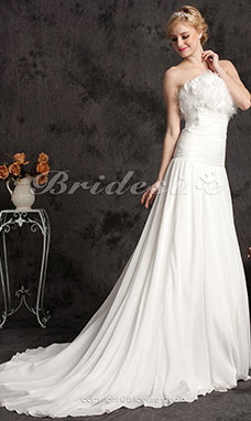 Ball Gown Organza Sweep/Brush Train Strapless Wedding Dress
