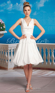 A-line Taffeta Knee-length Halter Wedding Dress