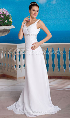 Sheath/ Column Chiffon Lace Floor-length V-neck Wedding Dress